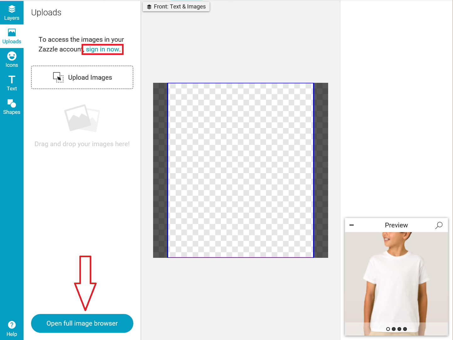 Basic Design Tool Functionality (Adding Images & Text) – Help Center